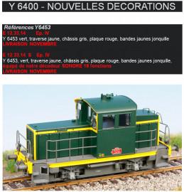 EPM E 12.33.15  LOCOTRACTEUR Y6453 verts traverse Jaune, chassis gris, plaque rouge, bandes jaunes jonquille
