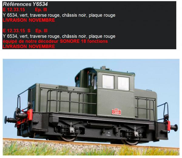 EPM E 12.33.14  Locotracteur diesel Y-6573 livrée vert, traverse rouge, châssis noir, plaque rouge