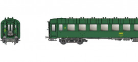 MW 40908  OCEM B10 avec feux de fin de convoi, Vert, Chassis gris, UIC