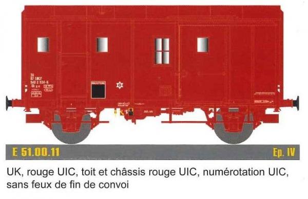 EP51.00.11 Fourgon M, F Uk, rouge UIC, T et C rouge UIC