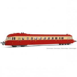HJ2411S Autorail ABJ 4, rouge/crème, toit rouge, SNCF, Ep III