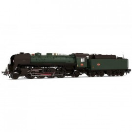 HJ2277 Locomotive à vapeur SNCF, 141 R 1155, livrée verte et noire, tender fuel