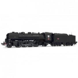 HJ2352 Locomotive à vapeur SNCF, 141 R 995, noire, dépôt Verzon, tender fuel