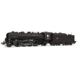HJ2351 Locomotive à vapeur SNCF, 141 R 463, noire, dépôt Venissieux, tender charbon