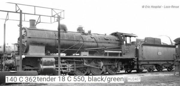 HJ2407S Locomotive vapeur 140 C 362, tender 18 C 550, noir/vert/filets jaunes, cerclages de chaudière, SNCF