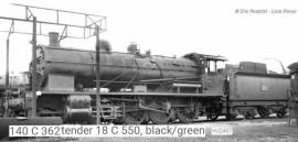 HJ2407 Locomotive vapeur 140 C 362, tender 18 C 550, noir/vert/filets jaunes, cerclages de chaudière, SNCF