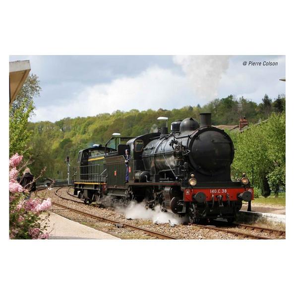 HJ2406S Locomotive vapeur 140 C 38, tender 18 B 22, Est, noir/filets rouges, cerclages de chaudière, SNCF