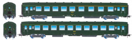 HJ4133 ENSEMBLE DE 2 VOITURES VOYAGEURS DEV AO 1°CL MIXTE 2°CL & 2°CL LIVREE VERT FONCE LOGO ENCADRE SNCF