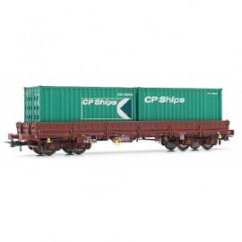HJ6150 Wagon plat Remms chargé de 2 conteneurs livré CP Ships