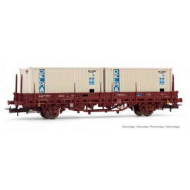 HJ6175 Wagon plat Lgs, conteneurs DELMAS SNCF