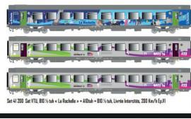 LS 41200 ENSEMBLE DE 3 VOITURES CORAIL LIVREE LA ROCHELLE ET LIVREE INTERCITES 200 Km/h SNCF