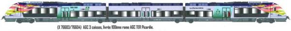 LS 10072 AUTOMOTRICE AGC X 76603/76604 3 PIECES LIVREE 100EME RAME AGC TER PICARDIE SNCF