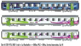 LS 41201 Coffret de 3 voitures Vtu dont 1 livrée Destination La Rochelle et 2 Intercités logo carmillon