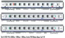 LS 41202 ENSEMBLE DE 3 VOITURES CORAIL A5B5TU 1°CL / B10TUX 2°CL LIVREE TER RHONE ALPES SNCF