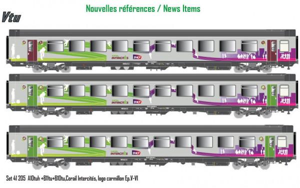LS 41205 ENSEMBLE DE 3 VOITURES CORAIL LIVREE INTERCITES SNCF