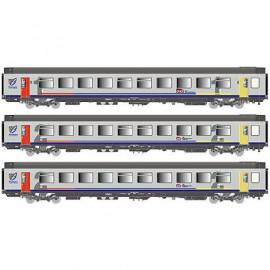 LS 40290 Coffret de 3 voitures corail «Bourgogne» livrée gris à bande bleue avec porte bout de ligne rouge et jaune