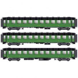 MW 40375 Coffret de 3 voitures OCEM troisième classe ETAT livrée verte avec châssis, toit et bouts noir