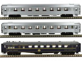 LS 41103 Coffret de 3 voitures Mistral 56 livrée inox sans bandeau TEE et voiture bleu CIWL sans airco «Tranche Paris - Lyon»