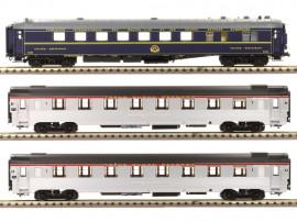 LS 41107 Coffret de 3 voitures Mistral 56 livée inox avec bandeau TEE et voiture bleu CIWL sans airco «Tranche Paris - Lyon»