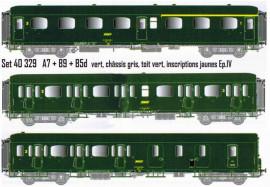 LS 40329 Coffret de 3 voitures Express Nord A7 + B9 + B5d livrées vertes, châssis gris, toit vert, inscriptions jaunes