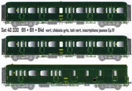 LS 40330 Coffret de 3 voitures Express Nord B11 + B11 + B4d livrées vertes, châssis gris, toit vert, inscriptions jaunes