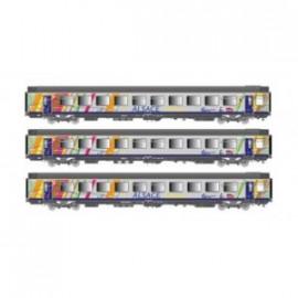 LS 40282 ENSEMBLE DE 3 VOITURES CORAIL VTU A10TU 1°CL / B11TU 2°CL LIVREE TER ALSACE SNCF