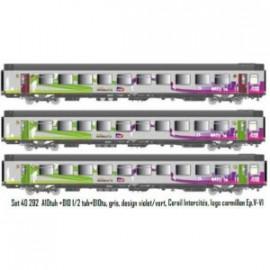 LS 40292 COFFRET DE 3 VOITURES VOYAGEURS A10tuh+B10 1/2 tuh+B10tu, Corail Intercités, logo carmillon