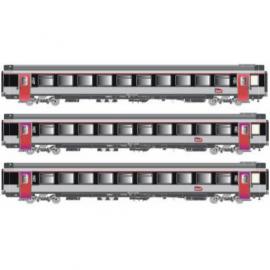 LS 40139 Coffret de 3 voitures corail livrée gris métalisé porte louvoyantes avec bande noir et logo carmillon