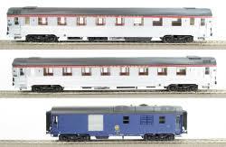 LS 41130 Coffret de 2 voitures première classe Mistral 56 livrée inox avec fourgon générateur livrée bleu «Le Lyonnais»