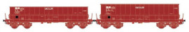 LS 32300 ENSEMBLE DE 2 WAGONS TOMBEREAUX DM / DMH ROUGE UIC SACILOR SNCB