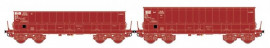 LS 32303 ENSEMBLE DE 2 WAGONS TOMBEREAUX DM / DMH ROUGE UIC SACILOR SNCB
