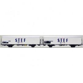 LS 30228 Coffret de 2 wagons interfrigo Frangeco livrée blanc avec châssis long et inscription STEF bleu centré