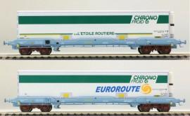 LS 30306 Coffret de 2 wagons plats avec caisse mobile frigorifique CHRONO FROID livrée Euroroute et L'étoile routière