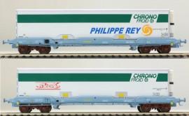 LS 30307 Coffret de 2 wagons plats avec caisse mobile frigorifique CHRONO FROID livrée La Flèche et Philippe Rey