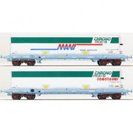 LS 30308 Coffret de 2 wagons plats avec caisse mobile frigorifique CHRONO FROID livrée Sonotrans et Mani