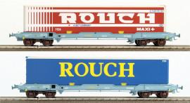 LS 30313 Coffret de 2 wagons plats avec caisse mobile frigorifique ROUCH livrée bleu et rouge