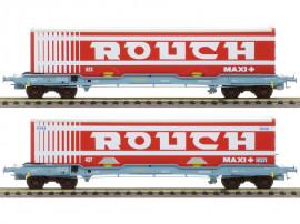LS 30315 Coffret de 2 wagons plats avec caisse mobile frigorifique ROUCH livrée rouge