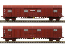 LS 30338 Coffret de 2 wagons Gahkkss livrée rouge UIC deux tons avec logo Roussillon Express et Bagages Express