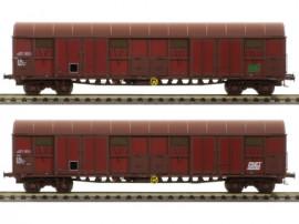LS 30339 Coffret de 2 wagons Gahkkss livrée rouge UIC deux tons avec logo vert FRET et logo blanc FRET