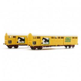 LS 30086 Coffret de 2 wagons Gakkss livrée jaune FRET vert avec logo cheval