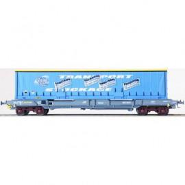LS 30299 Wagon plat porte conteneur livrée gris bleu NOVATRANS type KMr avec caisse mobile bachée bleue COMETRANS