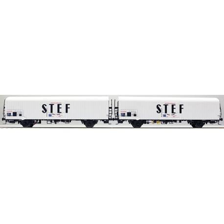 LS 30227 Coffret de 2 wagons interfrigo Frangeco livrée blanc avec châssis long et inscription STEF noir centré