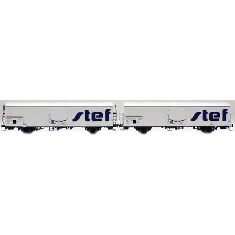 LS 30234 Coffret de 2 wagons interfrigo Frangeco livrée blanc avec châssis long et nouveau logo STEF décentré