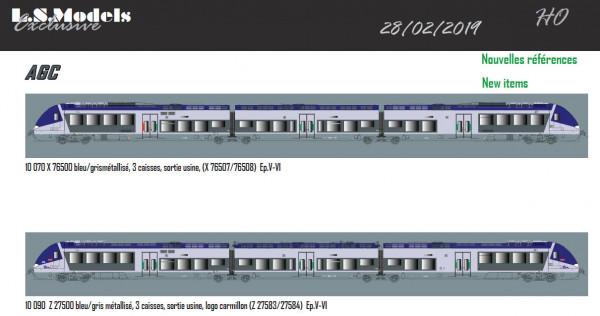 LS 10070S X 76507, bleu/vert/gris métallisé, Sortie usine, trois caisses / Ep. V-VI / SNCF