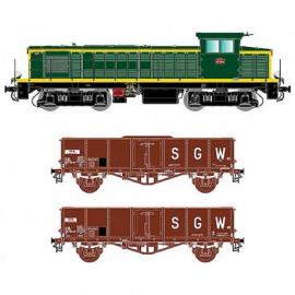 41024 Coffret locomotive diesel BB 63119 du dépôt de Nancy avec 2 wagons tombereaux ex Villach métalisés
