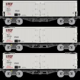 WB-581 Coffret de 3 Wagons TP FRIGO Origine (Avec ou sans Trappe à glace) SNCF STEF