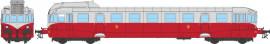 MB-118 Autorail diesel VH X-2326 livrée ex-ETAT rubis-gris perle avec fanaux d'angle du dépôt de Batignolles