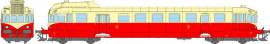 MB-120 Autorail diesel VH X-2119 livrée ex-PLM rouge-crème avec feux d'angle et chasse pierres du dépôt de Avignon