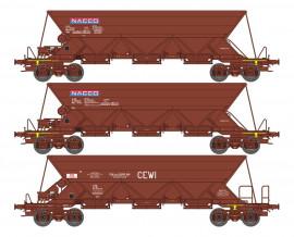 WB-573 SET de 3 WAGONS TREMIE EX T1 Ep.V «NACCO»