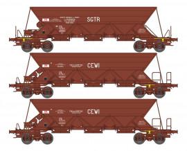 WB-574 SET de 3 WAGONS TREMIE EX T1 et T3 Ep.IV-V «SGTR / CEWI / CEWI»
